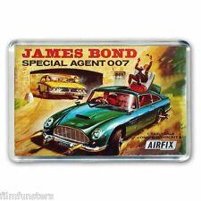 RETRO - JAMES BOND 007 ASTON MARTIN  AIRFIX KIT ARTWORK - JUMBO FRIDGE MAGNET