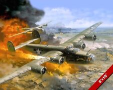 WWII B-24 LIBERATOR BOMBER PAINTING US MILITARY HISTORY ART REAL CANVAS PRINT