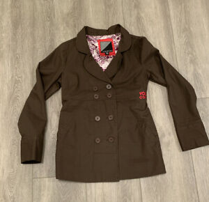Volcom Jacket Small Brown Button Up Peacoat With Silky Lining And Pink Accents