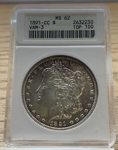 1891-CC $ Top-100 Silver Morgan Dollar  VAM-3 S$1 ANACS MS62 230