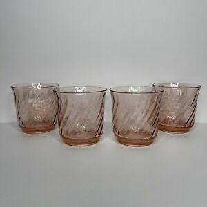 4 Arcoroc France Pink Spiral Depression Glass Whiskey Tumblers 8oz Drinking