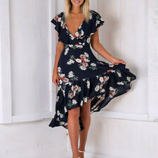 Fashion Ladies' Low V Neck Sexy Mid Calf Dress Floral Lotus Leaf Fish Tail Skirt