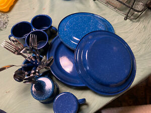 Enamelware Mixed Lot Blue Speckle 6 Plates & Cups Camping Picnic Flat Wear 4