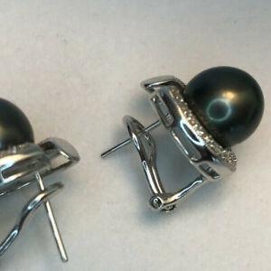 8mm Black Tahitian Pearl Omega Back Earrings 14K White Solid Gold &  Diamonds