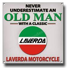 Never Underestimate an Old Man mit Klassisch Laverda Motorrad Metall Schild