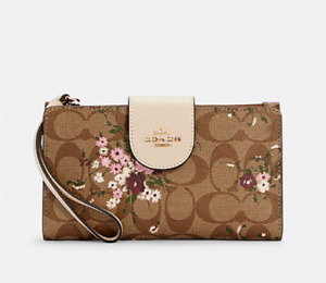 NWT COACH Tech Phone Wallet Signature Canvas With Evergreen Floral Print