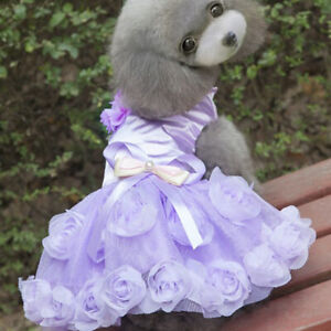 Lace Dog Princess Tutu Wedding Dress Christmas Clothes Collection L Purple