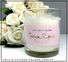 Let Love Glow candle  colour stickers label  foil rose gold,silver x24