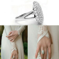 Nice Women Wedding Rings Engagement Ring Silver Crystal Jewelry Size 6-11 FT