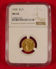 1928 $2.50 GOLD NGC MS64 Indian Head Quarter Eagle