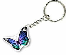 Keychain key ring keyring car motorcycle home housse butterfly blue biker