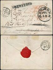 FRANCE 1858 ENVELOPE to USA MILITARY...FORWARDED to WEST POINT + SEAL