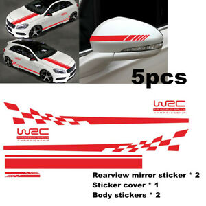 5pcs/set Racing Stripe Full Body Hood Rearview Mirror Sticker Decal For Car SUV