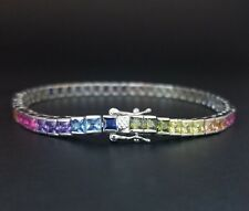 14k White Gold Sterling Silver Square Blue Sapphire & Multi Gem Tennis Bracelet