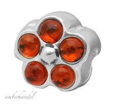 Sammelarmband Silber Amber Bernstein Beads Bead Blume (Mod.12)