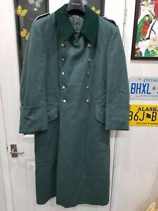 "VGC 1950's VINTAGE genuine green German military wool M36 greatcoat 38"" SMALL"