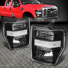 For 08-10 Ford F250 F350 Super Duty Black Housing Clear Corner Headlight Lamps