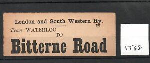 London & South Western Railway LSWR - Luggage Label (1738) Bitterne Road