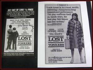Lucie Arnaz LOST in Yonkers Neil Simon Orig Flyer + photo,Lucille COA See Video
