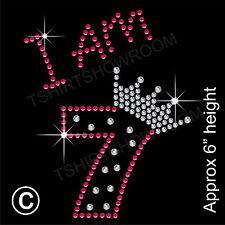 """""""estoy 7"""" Chica de diamantes de imitación de transferencia de la revisión de hierro en Motif Con Un Regalo Gratis"""