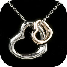 pendant necklace 18k rose white gold gp double hearts high quality