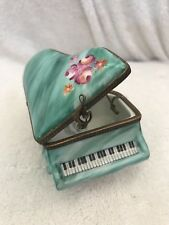 Retired Large Limoges Grand Piano Trinket/Pill Box With Flowers