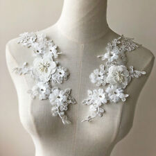 3D Rhinestone Corded Lace Applique Embroidery Pearl Bridal Floral Motif 1 Pair