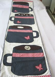 """Machine sewing patchwork and applique handmade size 19""""x  68""""table runner"""