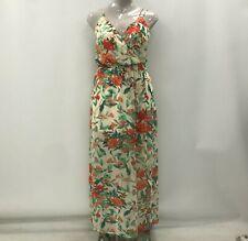 Guess con tiras vestido Maxi Uk 12 Crema Estampado Floral transparente de verano ocasión 033912