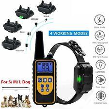 IP68 Pet Dog Training Collar Rechargeable Electric Shock LCD Anti-bark R 800M UK