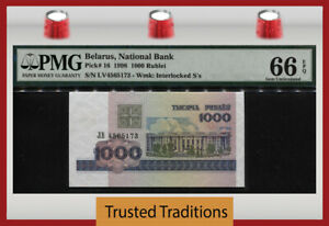 TT PK 16 1998 BELARUS NATIONAL BANK 1000 RUBLEI PMG 66 EPQ GEM UNCIRCULATED!