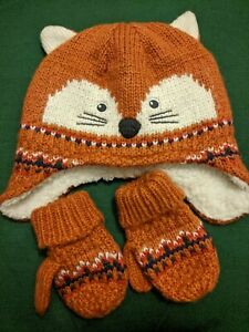 John Lewis Fox Hat And Gloves Set New No Tags Boys 2-3 years old