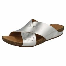 Ladies Clarks Sandal Perri Cove UK 7 Silver 100 Leather Standard (d)