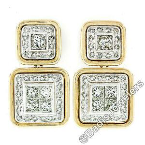 18k Two Tone Gold 3.60ctw Princess Round Diamond Large Dual Square Drop Earrings