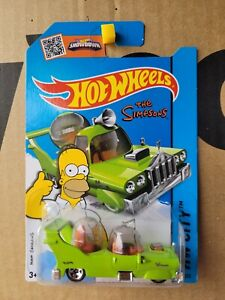 Hot Wheels 2014 - THE HOMER [GREEN] THE SIMPSONS VHTF NEAR MINT CARD GOOD