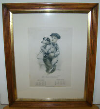 Antique Here Comes The Dog Catcher 1920 Leap Year Life's Dog Calendar Framed