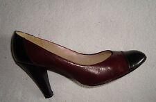 Chaussures Escarpins BALLY France Cuir Bicolore Bordeaux et Noir Pointure 37