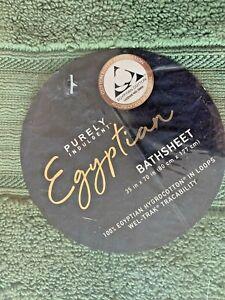 "Purely Indulgent 2-piece Egyptian Cotton Bath Sheet Set 35""x70"" Hedge Green NEW"