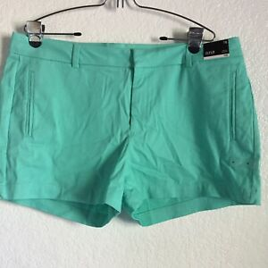 NWT a.n.a. Womens Casual Dress Shorts Size 16 Cockatoo Green Cotton Twill