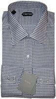 NEW TOM FORD ELEPHANT GRAY & WHITE GINGHAM CHECK DRESS SHIRT 45 17.75 17.5 $510