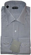 NEW TOM FORD ELEPHANT GRAY & WHITE GINGHAM CHECK DRESS SHIRT 45 17.75 17.5 $510