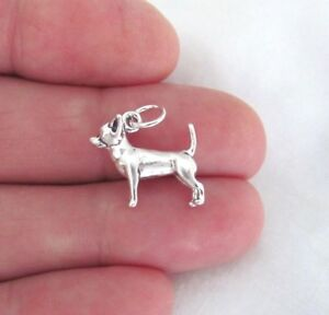 Sterling Silver 3d chihuahua dog charm.