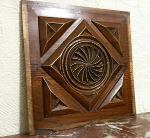 Rosette diamont shape wood carving panel Antique french architectural salvage