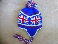 Men women kids red white blue Union Jack Pom Pom Hat Unisex Bobble Beanie ski