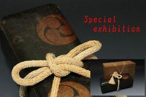 Japan Antique Edo Goshobako letter box bag sword yoroi koshirae samurai Busho 巴紋