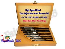 """HSS 7PCS ADJUSTABLE HAND REAMER SET -8/A TO 2/A, 1/4"""" TO 15/32""""(6.35MM–11.91MM)"""