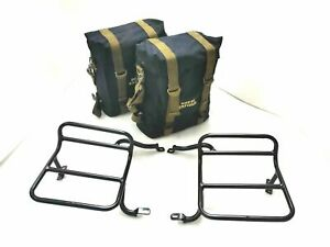 Military Pannier Set+Black Bags & Fitting Royal Enfield Classic 350cc 500cc