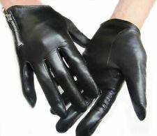 men side zipper wrist length best Italy real leather motor gloves in black