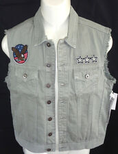 MENS RING OF FIRE GRAY DENIM JEAN PATCHES VEST SIZE M