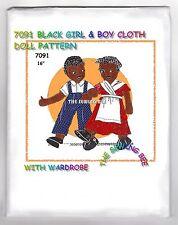 Black Boy & Girl Rag Cloth Doll Pattern vintage 7091 Vintage